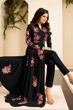 Drashti Dhami Party Style Black Color Georgette Long Anarkali Salwar Kameez