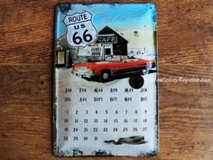 Placa metálica ROUTE 66 CALENDARIO - 20 x 30 cm. (Nostalgic Art)