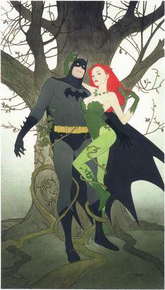 Batman under Poison Ivy's spell by Joshua Middleton