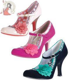 Ruby Shoo Ladies Poppy Shoes In All Colours ☆ Pin Up Shoes, Cute Shoes, Me Too Shoes, Dream Shoes, Crazy Shoes, Mid Heel Shoes, Shoes Heels, Pumps, Neon Heels