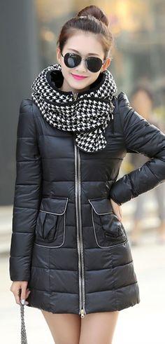Elegant Coat, coat with Plaid Hood-Scarf, hood-scarf, YRB coats, korean coat, dark red korean coat, dark red down coat, light purple coat, black korean down #coats, asian down coats, korean fashion, coats from korea UK elegant, plaid, yrb0392, women zip, £46.00 #winter