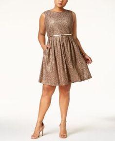Ellen Tracy Plus Size Lace Fit & Flare Dress with Belt - Tan/Beige 20W