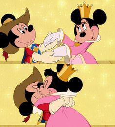 Musketeer Mickey and Princess Minnie in the Three Musketeers Mickey And Minnie Kissing, Mickey Mouse And Friends, Mickey Minnie Mouse, Old Disney, Disney Girls, Disney Love, Disney Cartoon Characters, Star Wars Characters, Mickey Mouse Wallpaper