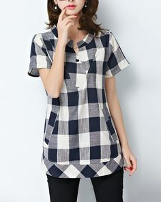 Women's Casual/Daily Plus Size / Vintage / Simple Summer Blouse,Plaid Round Neck Short Sleeve Blue / Black Cotton / Linen Thin Wholesale T Shirts, Tunic Designs, Linen Blouse, Plus Size Womens Clothing, Blouses For Women, Korean Fashion, Short Sleeve Dresses, Fashion Outfits, Couture