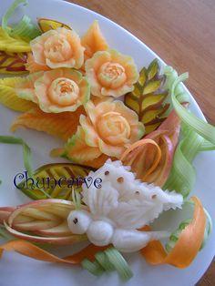 Melon Gardenia Platter (carved fruit)