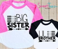 Arrow BIG Sister Little Brother shirt SET hip Tribal Arrows Shirt Raglan 3/4th Sleeve Shirt Toddler Youth by SweetTeez1 on Etsy https://www.etsy.com/listing/239355240/arrow-big-sister-little-brother-shirt