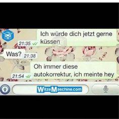 Lustige WhatsApp Bilder und Chat Fails 195 - Küssen - Autokorrektur