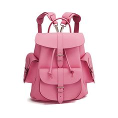 Grafea Pink Lemonade Medium Leather Rucksack ($275) ❤ liked on Polyvore featuring bags, backpacks, backpack, bolsos, malas, torebki, pink bag, leather rucksack, leather bags and genuine leather backpack