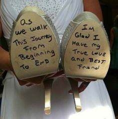 Have him write a little note on the bottom of your shoes and don't look until right before walking down the aisle :)
