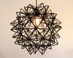 inspirace - The Seagram Pendant - Black Himmeli Inspired Geometric Spherical Hanging Lamp Old Lamp Shades, Rustic Lamp Shades, White Pendant Light, White Light Bulbs, Pottery Barn, Wooden Lampshade, Geometric Designs, Geometric Decor, Pendant Lamp