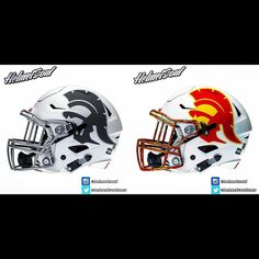 Check out the new #usc logo on a #matte white shell and  matching #chrome #facemask from www.helmetsoul.com
