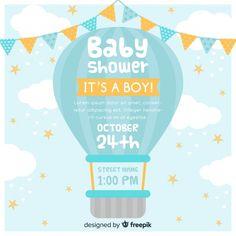 Convite do chuveiro de bebê Vetor grátis Baby Shower Azul, Baby Boy Shower, Baby Shower Invitation Templates, Baby Shower Invitations For Boys, Baby Shower Virtual, Baby Shower Scrapbook, Birthday Party Background, Baby Shower Templates, Baby Shower Invitaciones