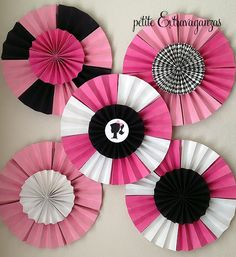 Set of 5 MADE to ORDER Extra Large Double Layered Paper Rosettes/ Fans. $40.00, via Etsy.