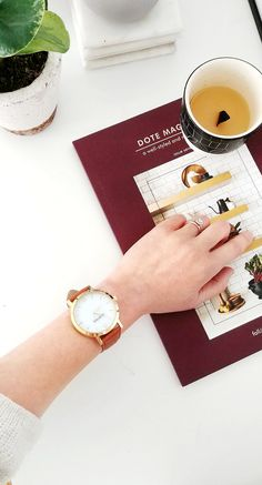 Modern round gold watch with a sustainable textured camel leather band that was meticulously crafted from surplus scrap leather that would have otherwise gone to waste. Gold Watch, Camel, Watches, The Originals, Brown, Crafts, Collection, Manualidades, Clocks