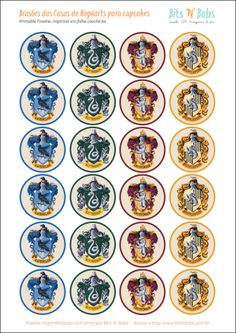 Freebie: Toppers do Harry Potter para cupcakes e docinhos – Bits 'N' Bobs Harry Potter Halloween, Harry Potter Diy, Natal Do Harry Potter, Harry Potter Badges, Harry Potter Fiesta, Harry Potter Classroom, Harry Potter Baby Shower, Harry Potter Cosplay, Theme Harry Potter