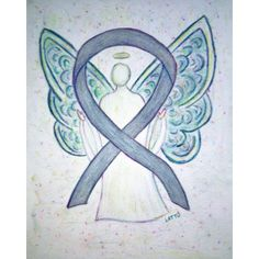 Angel Gray Brain Cancer Awareness Ribbon