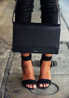 Black single strap heel.