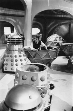 """1965: the world famous BBC SERIES """"Doctor Who"""" and its monsters. The super scary DALEKS were often made out of #CARDBOARD"""