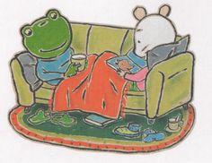 (2014-08) Nellie og Cezar sidder i sofaen og læser