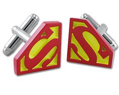 Brilliant Red and Yellow Superman Cufflinks on http://coolcufflinks.co.uk