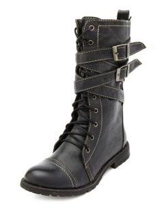 lace-up buckle strap combat bootie