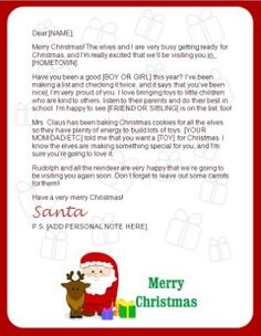 Free santa letter holiday christmas pinterest santa free printable santa letters personalized printable letters from santa claus spiritdancerdesigns Images