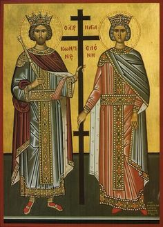 Mother of Emperor Constantine, Helena (right, pictured with her son) was perhaps the most famous pilgrim to travel to Byzantine Jerusalem and is credited with finding the tomb of Jesus and the True Cross. St Constantine, Constantino, Early Middle Ages, Prince, Byzantine Art, Early Christian, Christian Art, Catholic Saints, Orthodox Icons