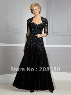 A-line beaded black lace sweetheart mother gowns prom dresses with long sleeve jacket M492 on AliExpress.com. 15% off $122.78