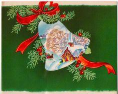 Vintage Greeting Card Christmas Bells Church (O587)