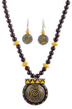Yellow And Black Beaded #Terracotta #Necklace Set at Bazzzar.com