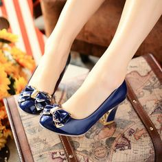 Elegant Bowtie Decoration big size new style high heel shoes for Woman W1-JLWL-3-2 2016 Fashion Office & Career Pumps