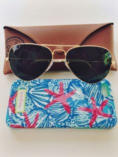 Ray Bans and Lilly Pulitzer phone case