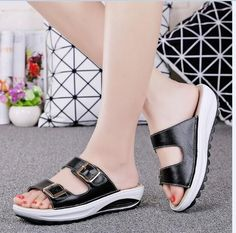 SUNROLAN women wedges sandals buckle genuine leather platform sandals rubber outsole woman slippers beach shoes for woman 921