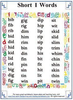 Short Vowel Sound - Word Lists - Short I