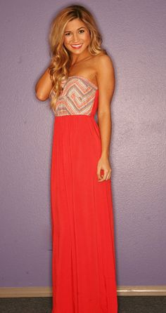 """EXPRESS YOURSELF IN CORAL"" Maxi Dress"