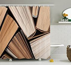 Amazon.com: Abstract Home Decor Shower Curtain Set By Ambesonne, Pile Of Old Books Research Reading Library Education Literature Theme Picture, Bathroom Accessories, 69W X 70L Inches, Brown Beige: Home & Kitchen