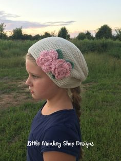New to LittleMonkeyShop on Etsy: Crochet Pattern Hat Girls Slouch with Flowers- Hat Crochet Pattern for Bellas Slouch Hat with Flowers and Leaves in 8 sizes Newborn- Adult (5.50 USD)