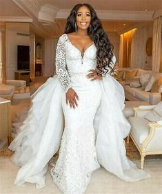 2019 Long Sleeve Mermaid Wedding Dresses With Detachable Train African Lace Appliqued V Neck Crystal Beaded Plus Size Bridal Gowns - Wedding Wedding Gowns With Sleeves, Wedding Dress Train, Lace Mermaid Wedding Dress, Long Sleeve Wedding, Cheap Wedding Dress, Wedding Dresses, Lace Wedding, Dream Wedding, Mermaid Dresses