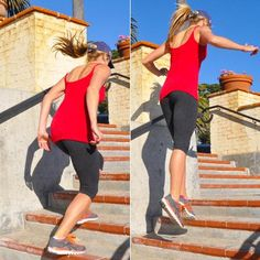 Blast your booty with split jumps. All you need is a step or stairs!