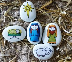Christmas painting on stones and pebbles: 125 ideas for creativity with children - best decoration ideas, Christmas Clock, Diy Christmas Lights, Christmas Nativity, Christmas Crafts, Christmas Decorations, Christmas Ideas, Pebble Painting, Pebble Art, Stone Painting