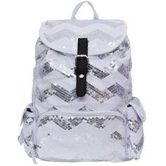 Spirit Sequin Chevron Bling Large Backpack silver