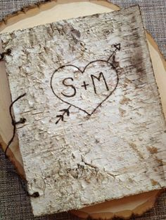 This 8 1/2 x 11 birch bark wedding guest book features gorgeous, rustic, birch on the cover and back. Perfect for your rustic, backyard, woodland
