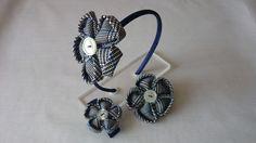 Set von Ornamenten in Blume kanzashi Stoff.  von Corazones de Colores auf DaWanda.com