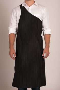 Butcher Apron: Pinstripe Grey or Pinstripe Black — Portland, OR Restaurant: The Country Cat Apron Dress, Blouse Dress, Sewing Aprons, Sewing Clothes, Cafe Apron, Restaurant Uniforms, Black Apron, Apron Designs, Uniform Design