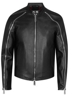 DSQUARED2 black leather jacket Zip-embellished raglan sleeves, side pockets, rib-stitched underarm and back panels, internal pocket, fully lined Two-way zip fastening through front 100% leather (calf); lining1: 100% wool; lining2: 100% polyester; pocket lining: 100% cotton