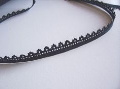 Vintage Black Pointed Lace Sewing Trim 3/8 inch by GriffithGardens, $4.50