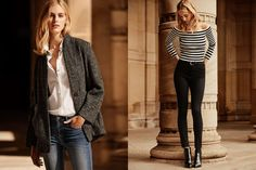 (L) H&M Wool Blend Coat, White Button-up Cotton Shirt and Slim-fit Jeans (R) H&M Ribbed Striped Off the Shoulder Top and Black Slim-fit High Waist Pants