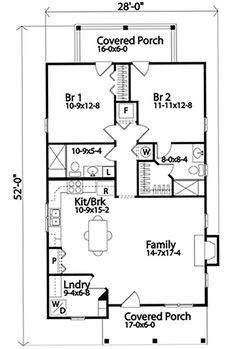 2 Bedroom House Plans, Cottage Style House Plans, Cottage Floor Plans, Tiny House Cabin, Cottage Style Homes, Cottage House Plans, Small House Plans, Beach House Floor Plans, Traditional House Plans