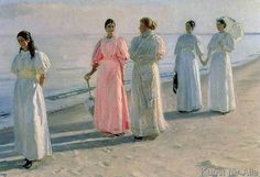 Michael Peter Ancher - Promenade on the Beach