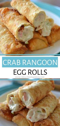 The ultimate party appetizer for the holidays or game days! These Crab Rangoon Egg Rolls are filled with fresh crab meat, cream cheese and a perfect blend of spices. These awesome egg rolls will be your favorite! Save this fun fall treat! Crab Meat Recipes, Egg Roll Recipes, Potato Recipes, Vegetable Recipes, Crab Rolls, Egg Rolls, Rolls Rolls, Seafood Appetizers, Appetizers For Party